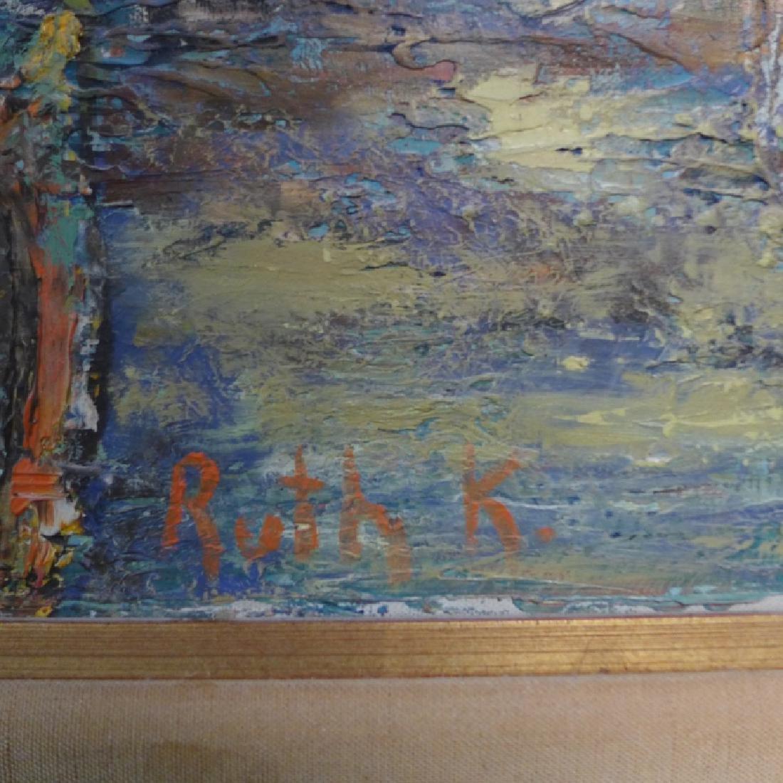 Signed Harbor Scene Painting - 3