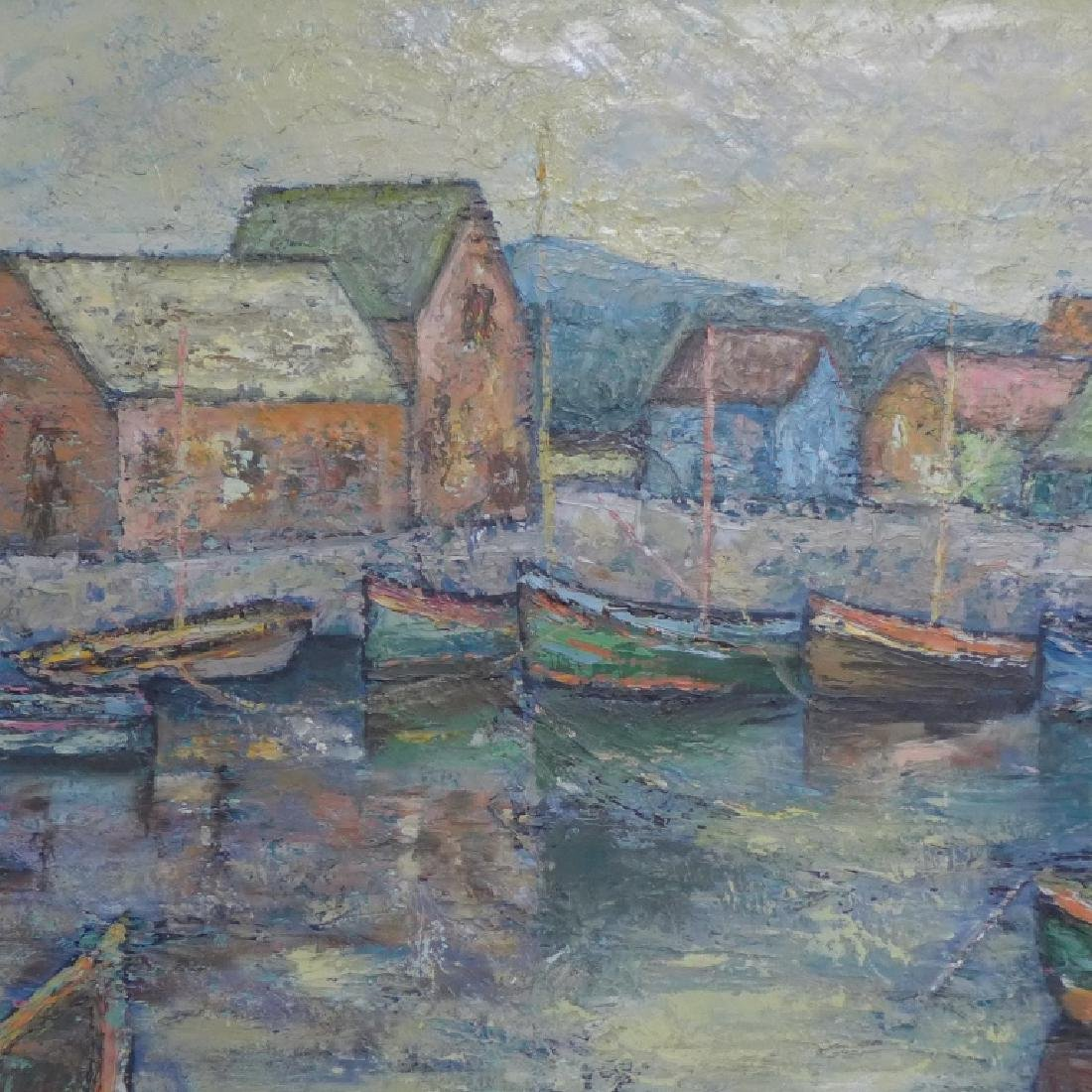 Signed Harbor Scene Painting - 4