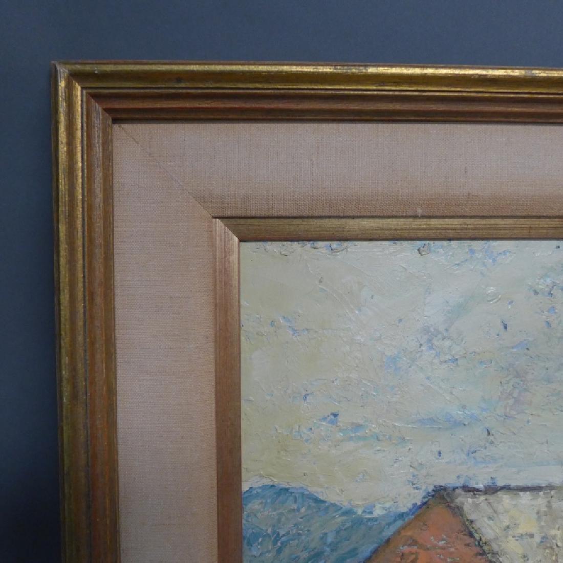 Signed Harbor Scene Painting - 5