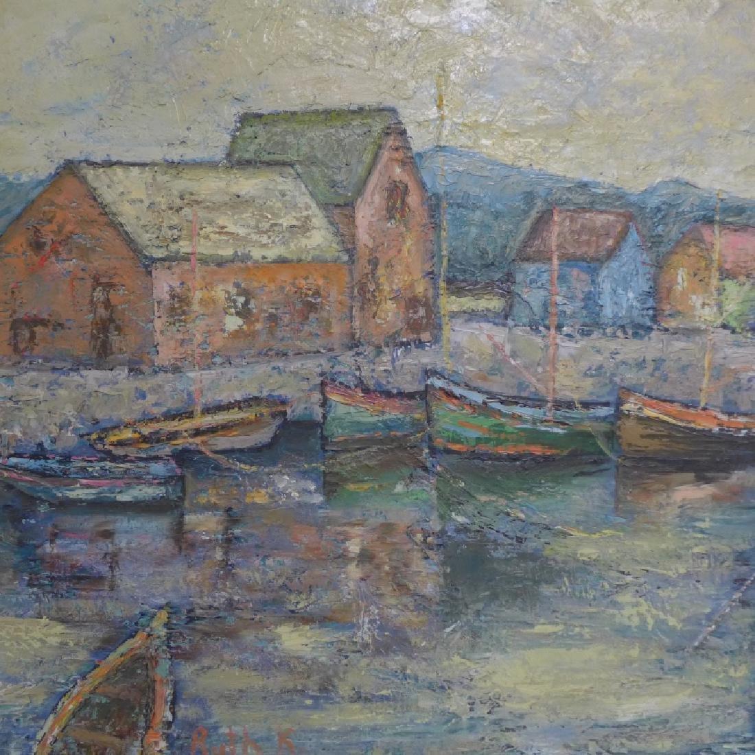 Signed Harbor Scene Painting - 7