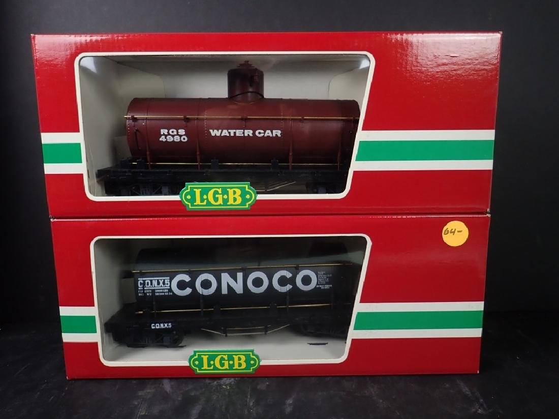 2 LGB 4080 Train Cars: Conoco & Water Tank Cars