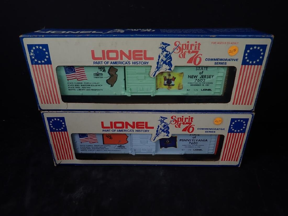 Two Lionel Spirit of '76 Train Box Cars, PA & NJ