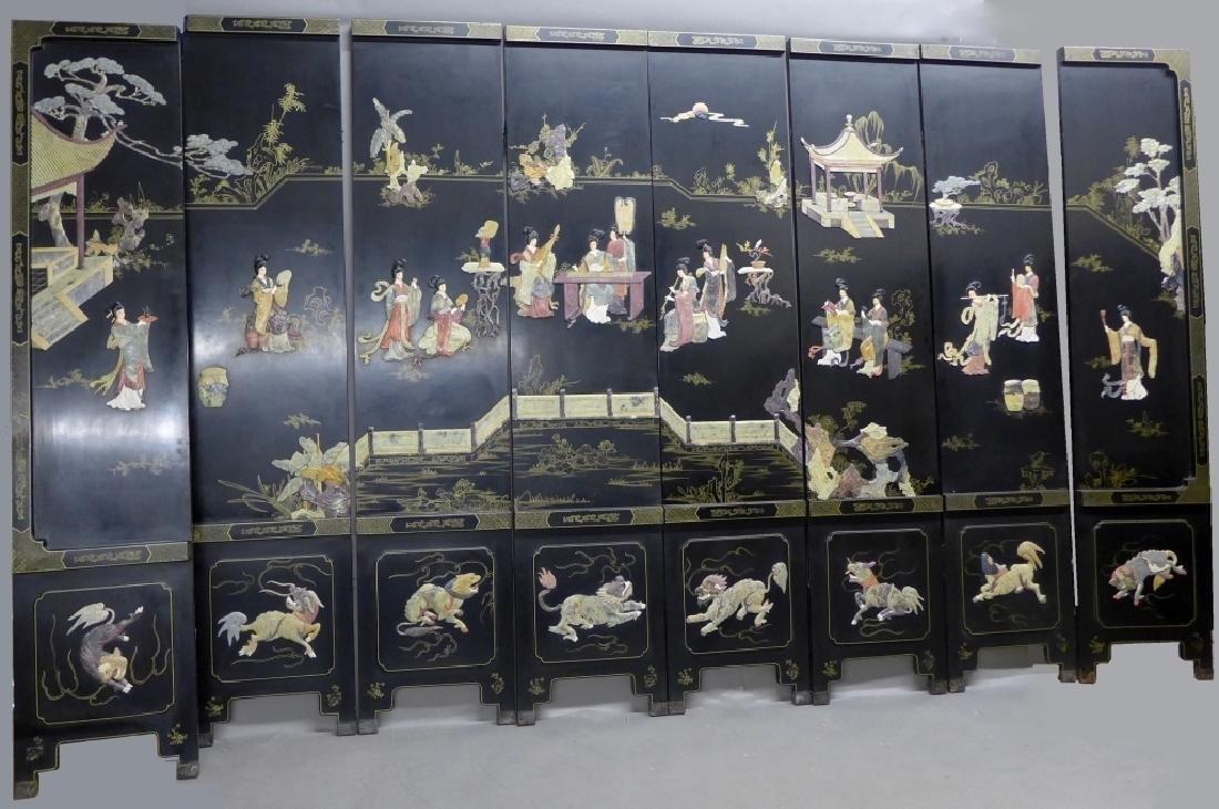 8 Panel Hardstone Inlay Floor Screen