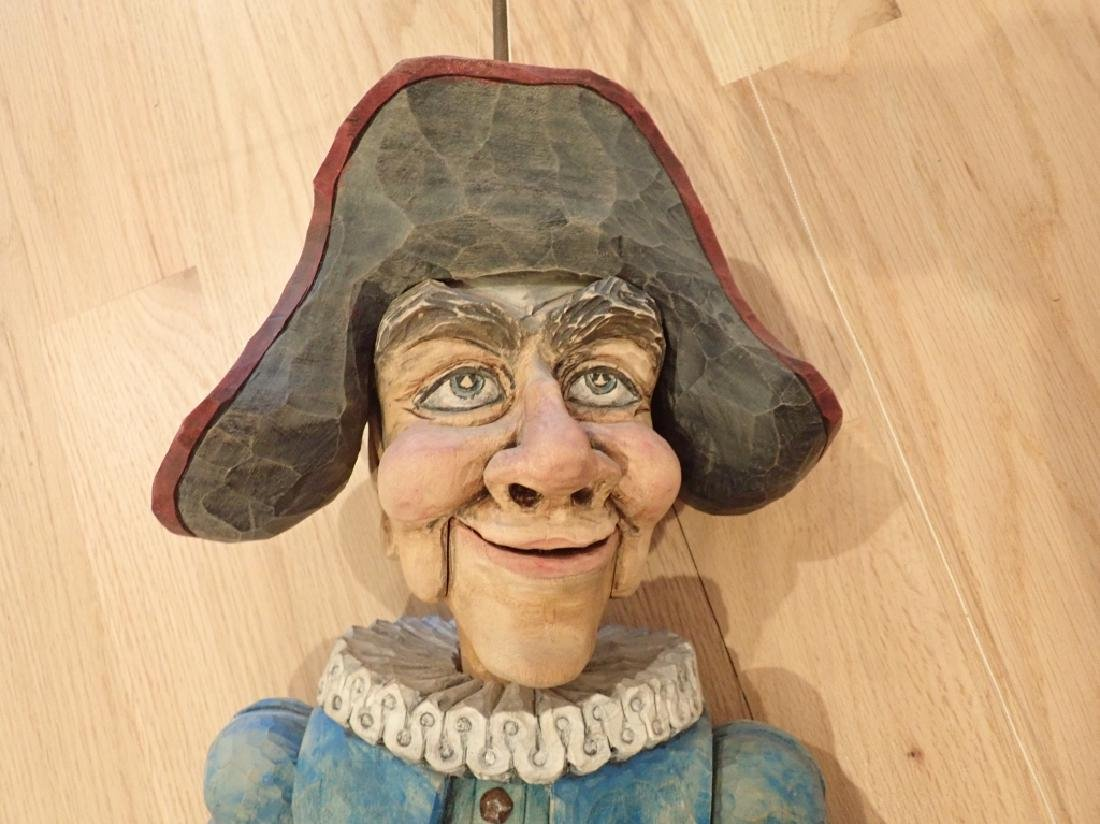 Vintage Wood Carved & Painted Marionette - 3