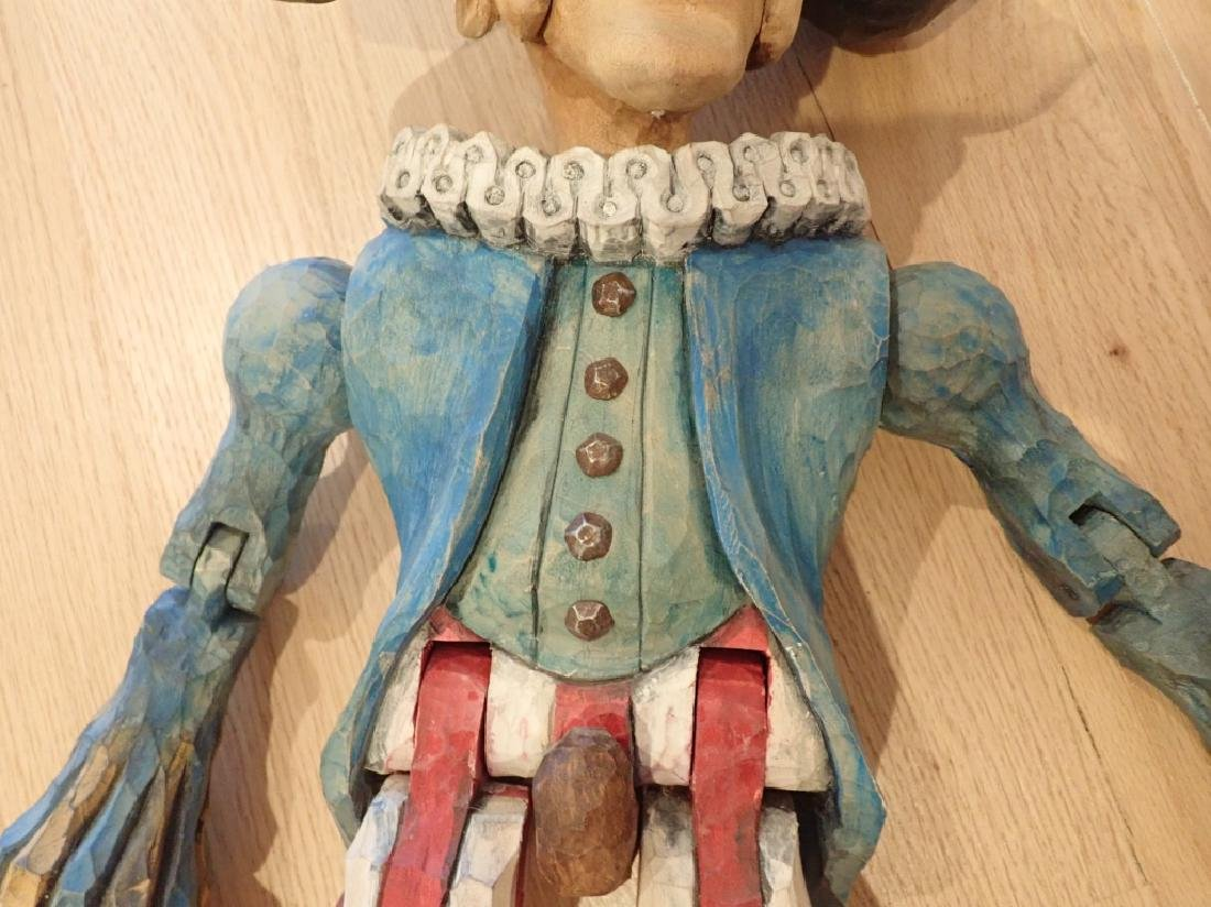 Vintage Wood Carved & Painted Marionette - 4