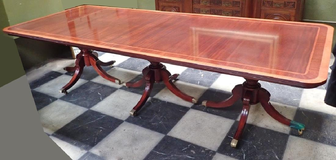 Banquet Size Triple Pedestal Mahogany Dining Table