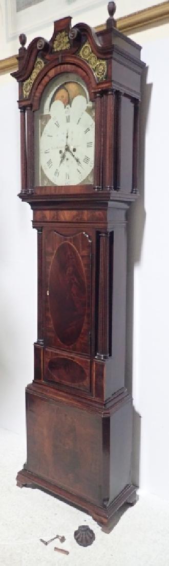 Antique Long Case Moon Dial Grandfather Clock