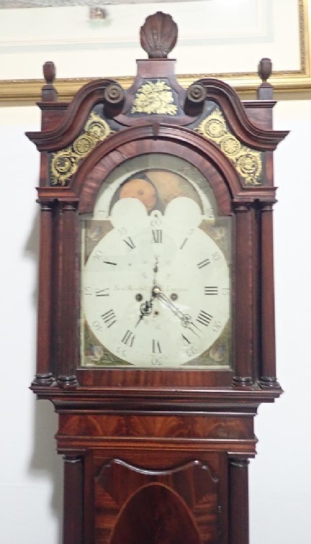 Antique Long Case Moon Dial Grandfather Clock - 2