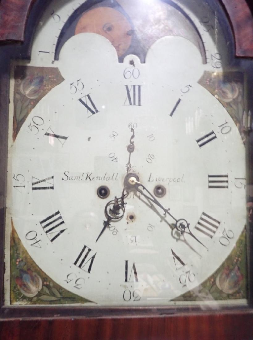 Antique Long Case Moon Dial Grandfather Clock - 4