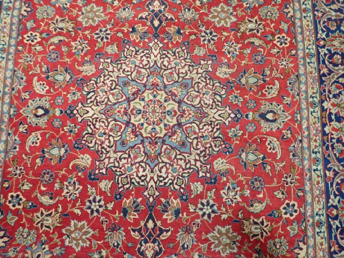 Hand Knotted Antique Persian Isphahan Rug - 5