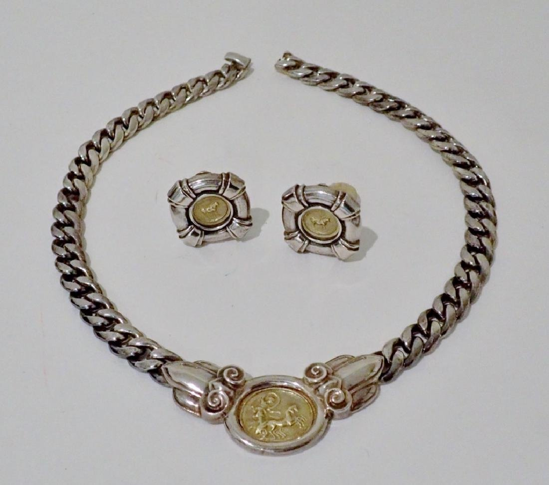 Silver Necklace & Earrings with 18k Gold Coins
