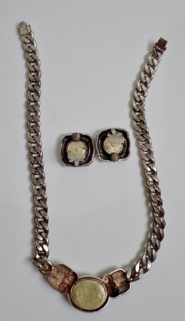 Silver Necklace & Earrings with 18k Gold Coins - 5