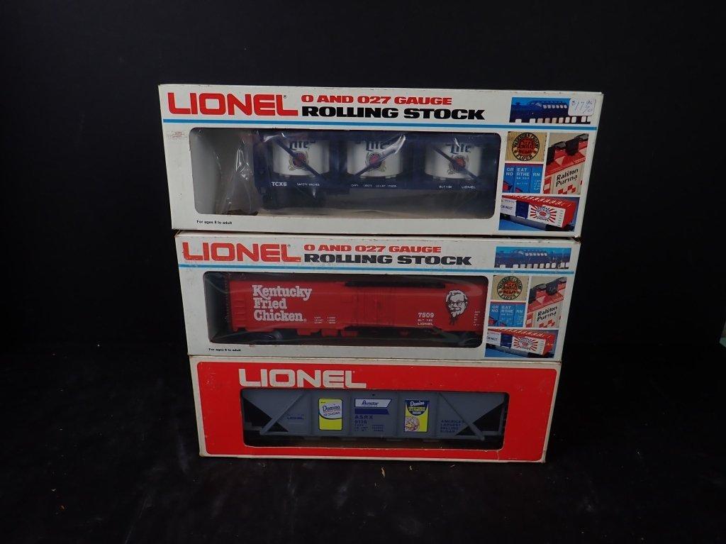 3 Lionel Boxcars, Miller, KFC & Domino Sugar