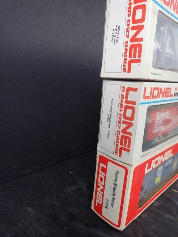 3 Lionel Boxcars, Miller, KFC & Domino Sugar - 2