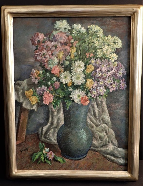19th Century Still Life Oil Painting, Flowers