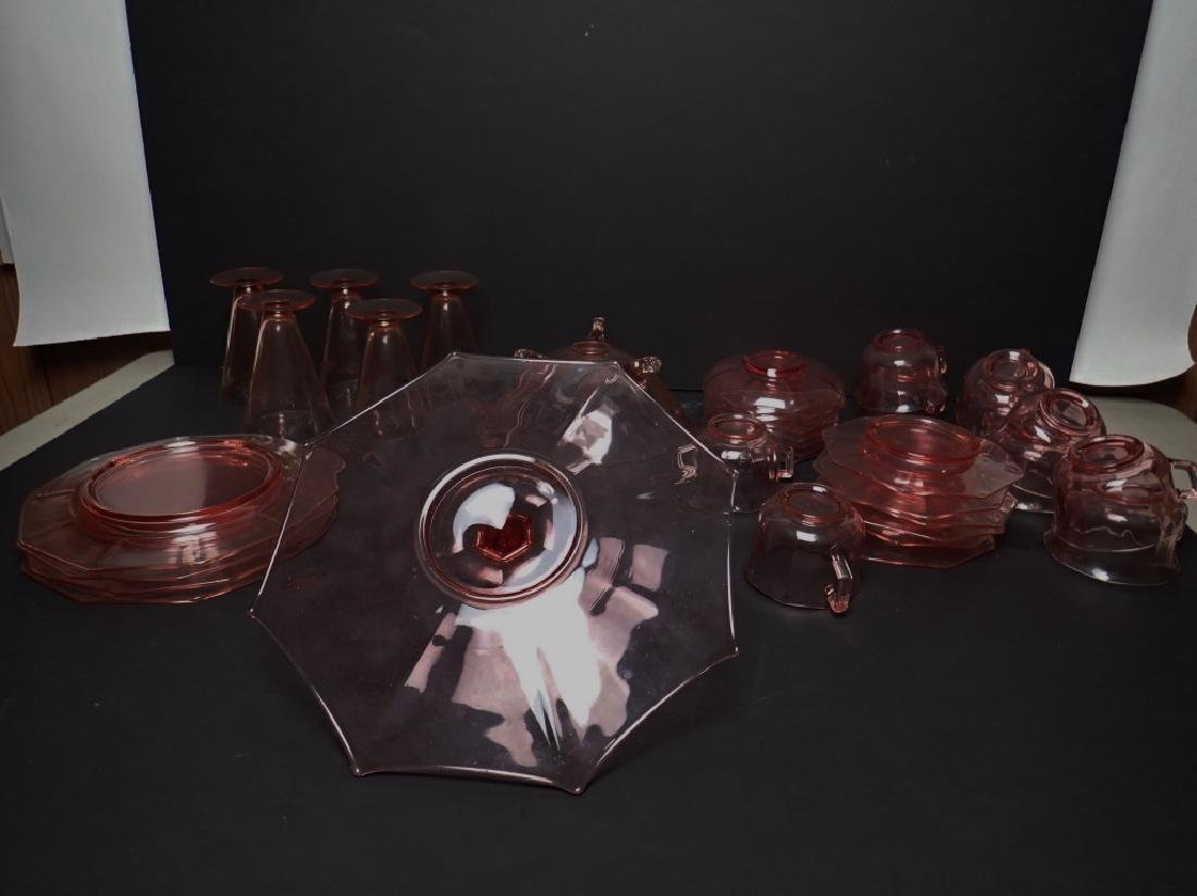 Assorted Cranberry Depression Glass Servingware - 10