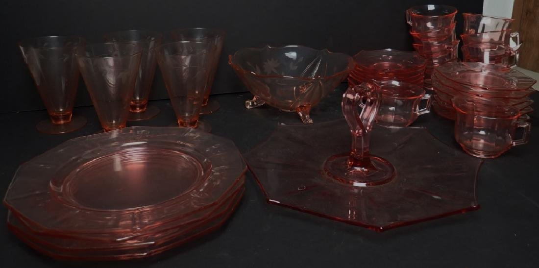 Assorted Cranberry Depression Glass Servingware - 4