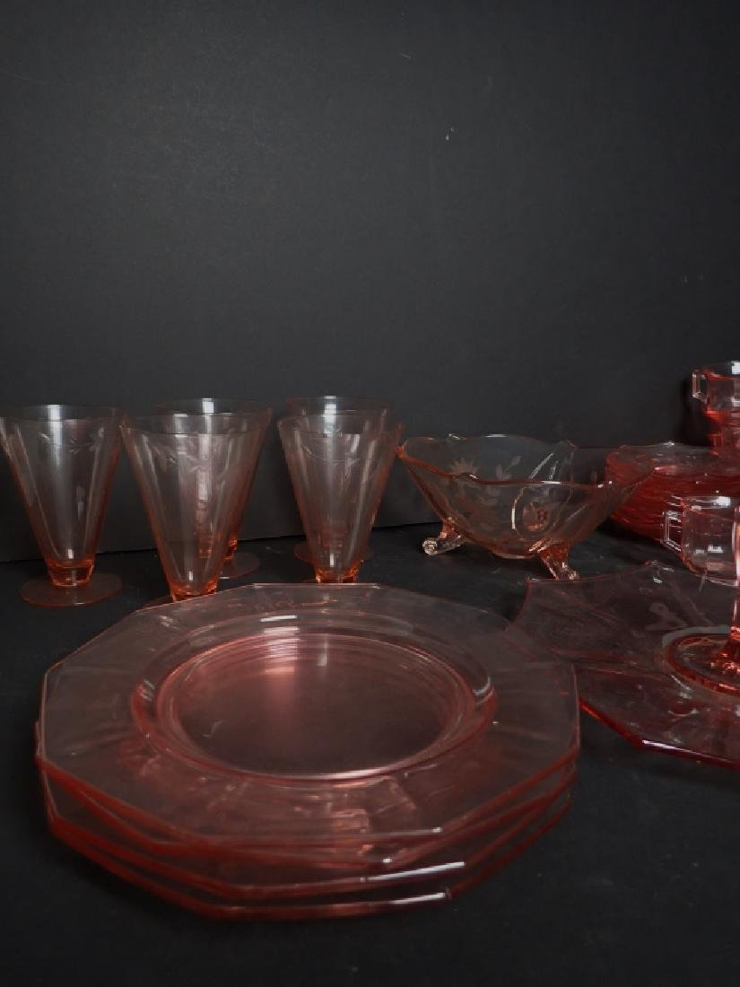 Assorted Cranberry Depression Glass Servingware - 6