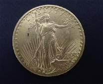 1908 SaintGaudens Double Eagle 20 Gold Coin