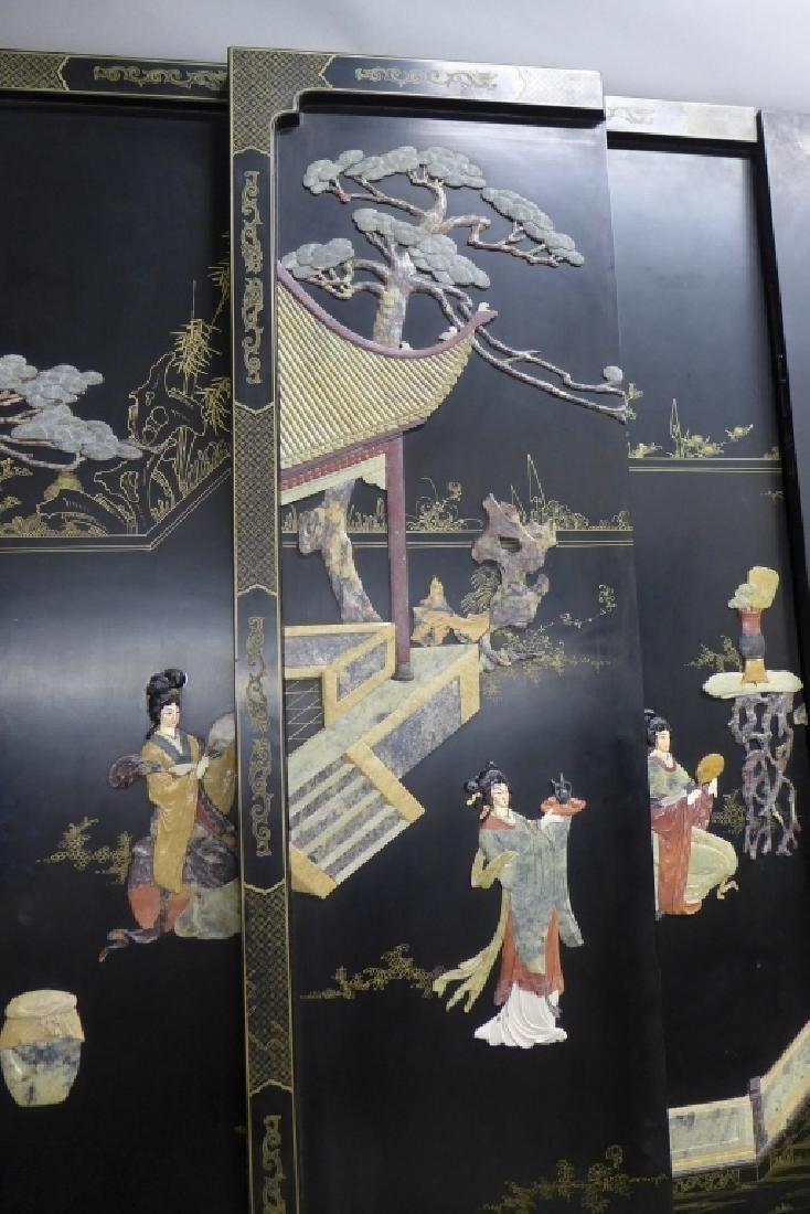 8 Panel Hardstone Inlay Floor Screen - 2