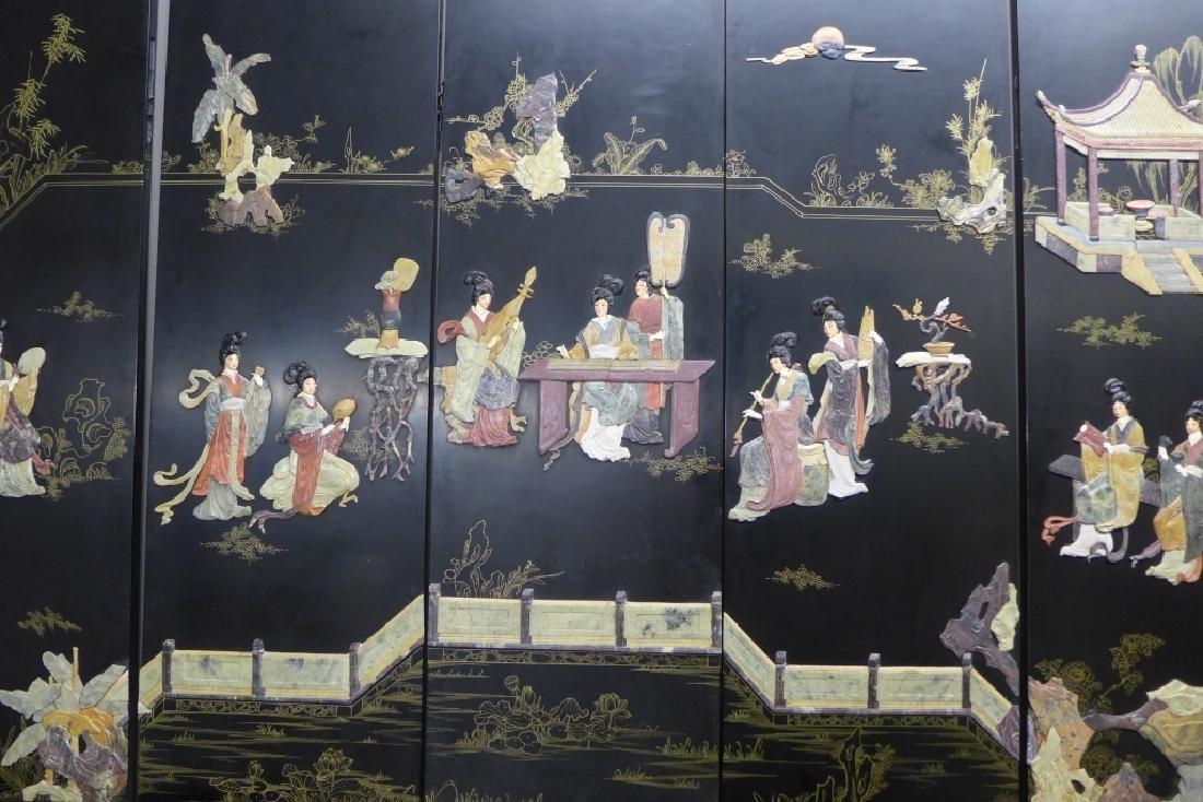 8 Panel Hardstone Inlay Floor Screen - 4