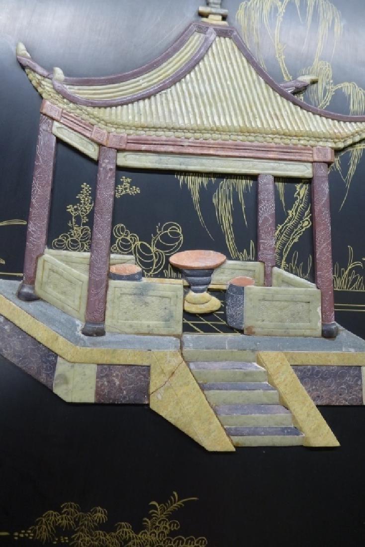 8 Panel Hardstone Inlay Floor Screen - 5