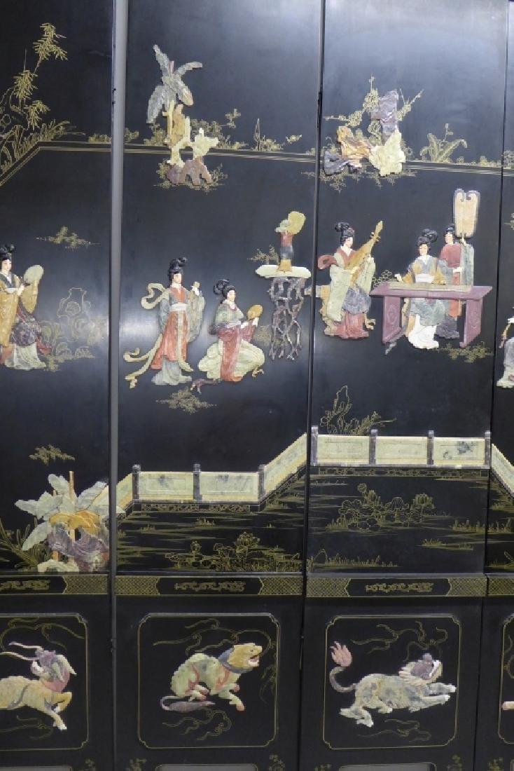 8 Panel Hardstone Inlay Floor Screen - 6