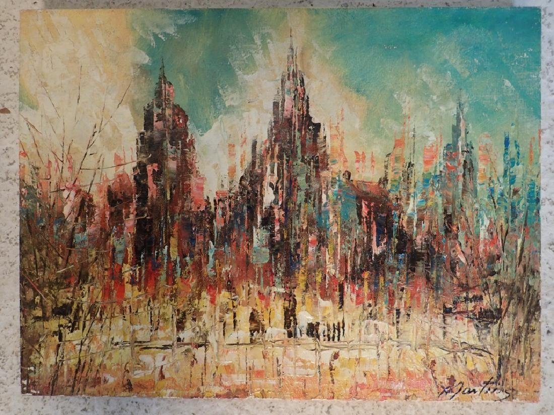 Signed Abstract Oil Painting, Cityscape