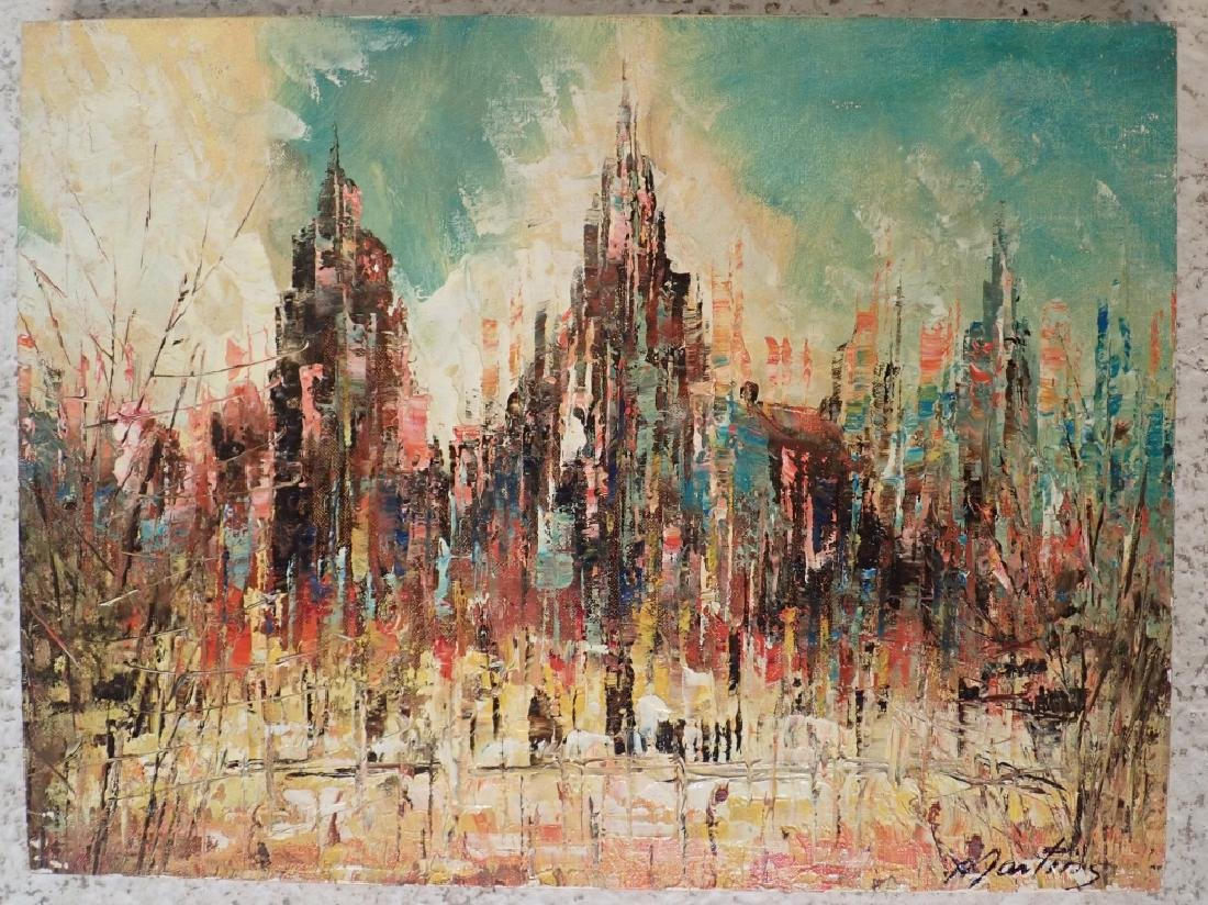 Signed Abstract Oil Painting, Cityscape - 3