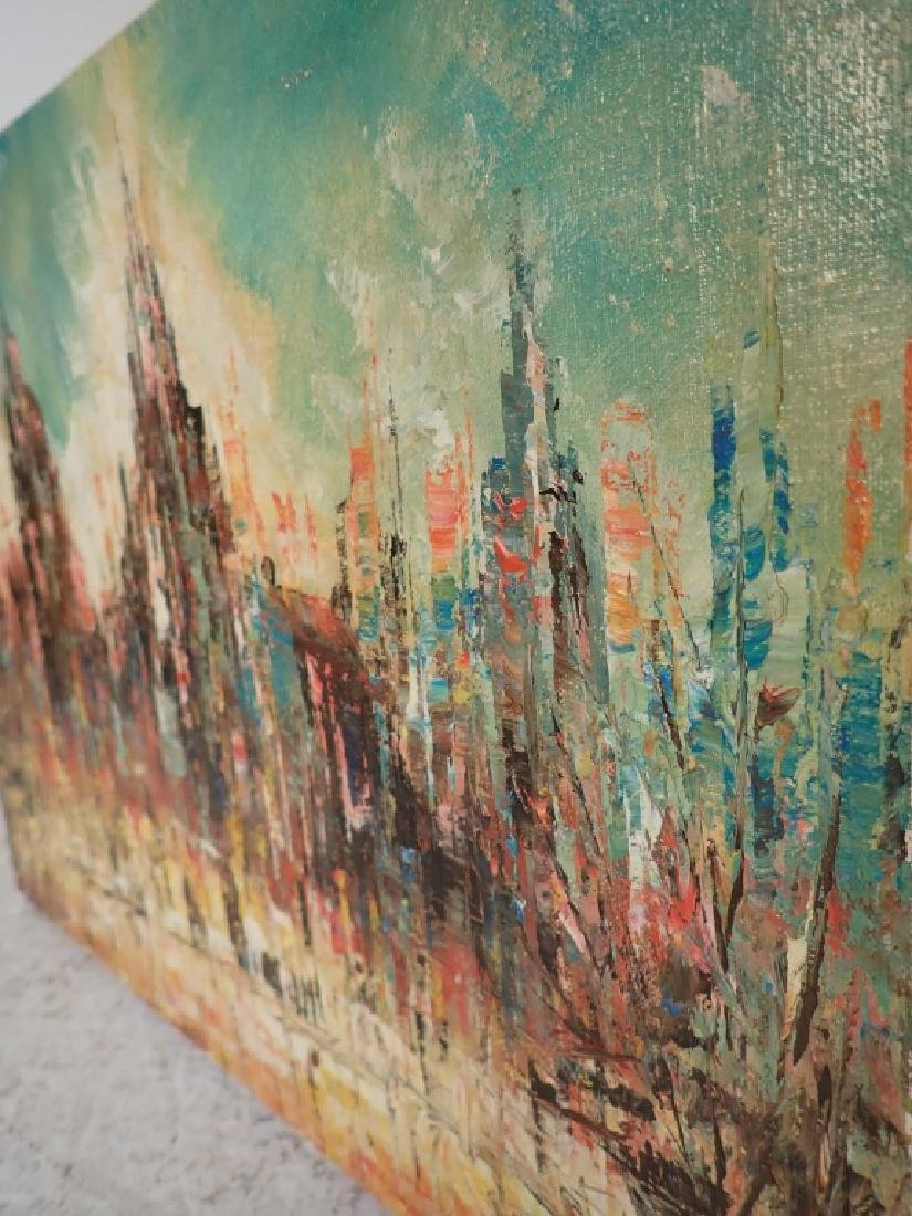Signed Abstract Oil Painting, Cityscape - 4
