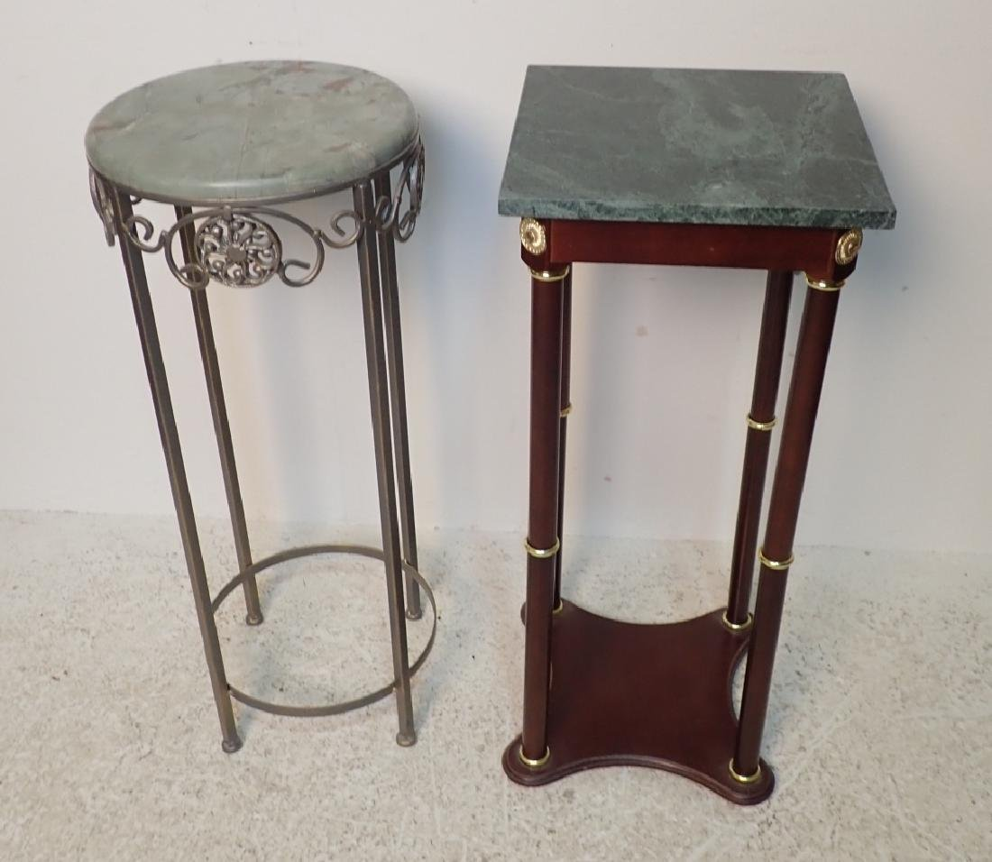 Two Marble Top Pedestals / Plant Stands
