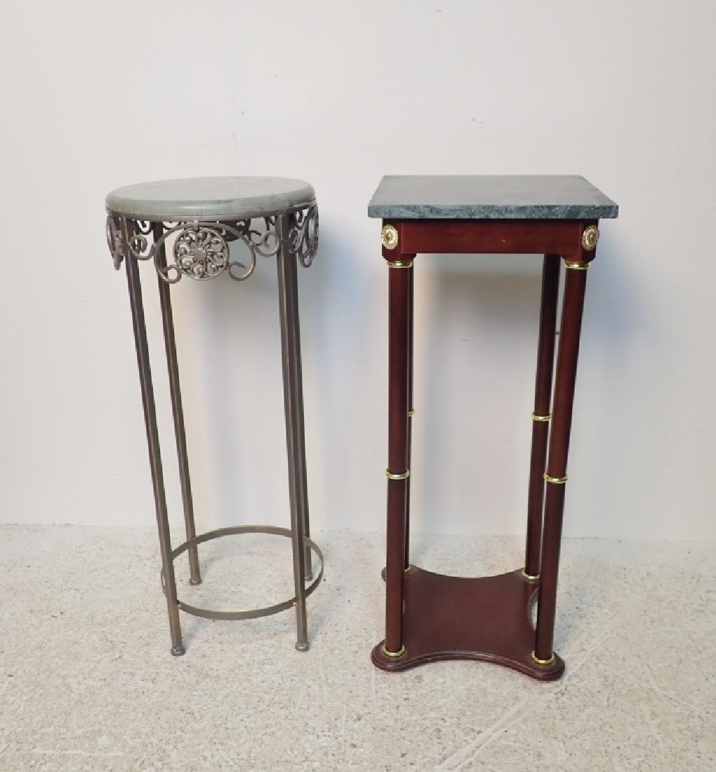 Two Marble Top Pedestals / Plant Stands - 2