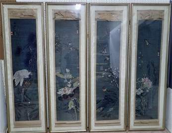 Set of Four Framed Chinese Watercolor Scrolls