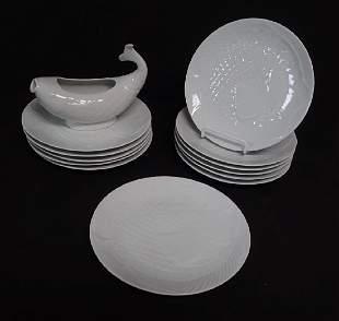 Dansk White Fish Gravy Boat & Dinner Plates