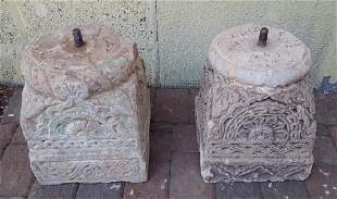 Pair of Carved Cement Pillar Bases