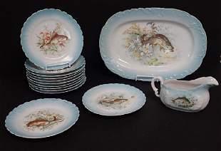 Antique Hand Painted Austrian Fish Serving Ware