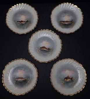 Five Vintage French Limoges Fish Plates