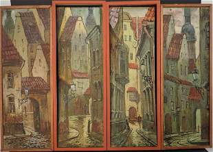 4 Panel City Street Series, Signed, Russian