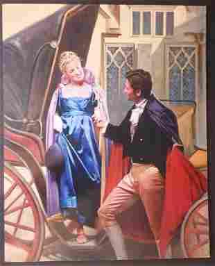 Vintage Romance Novel Painting, Signed Renato