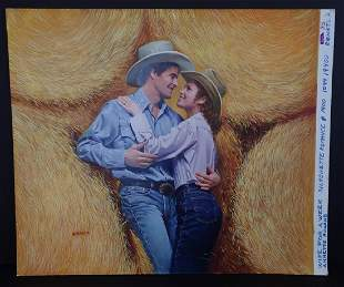 Romance Novel Cover Painting, Signed