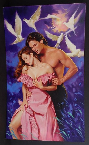 Vintage Romance Novel Cover Signed Renato