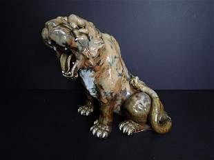Japanese Tiger Glazed Art Pottery