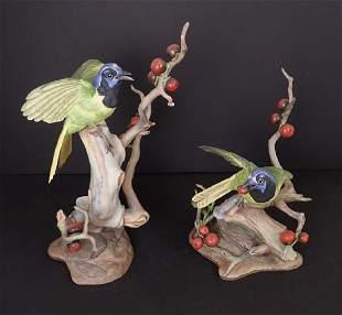 Boehm Birds, Pair of Green Jayes