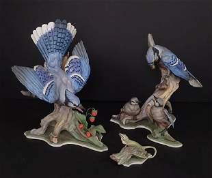 Boehm Birds Blue Jays & Lizard, Three Piece Set