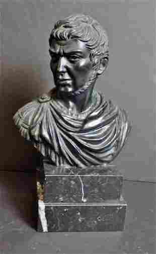 Italian Continental Bronze Bust on Marble Base