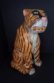 Antique Painted & Carved Wood Folk Art Tiger