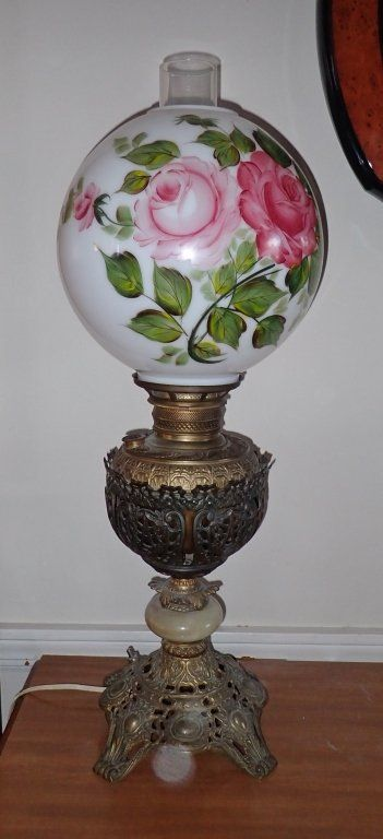Victorian Brass & Onyx Banquet Converted Oil Lamp
