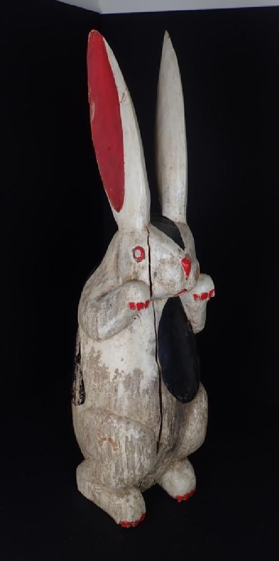 Antique Folk Art Painted & Carved Wood Rabbit
