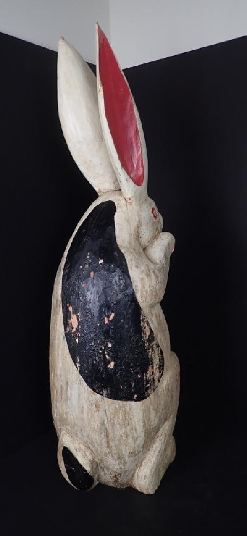 Antique Folk Art Painted & Carved Wood Rabbit - 6