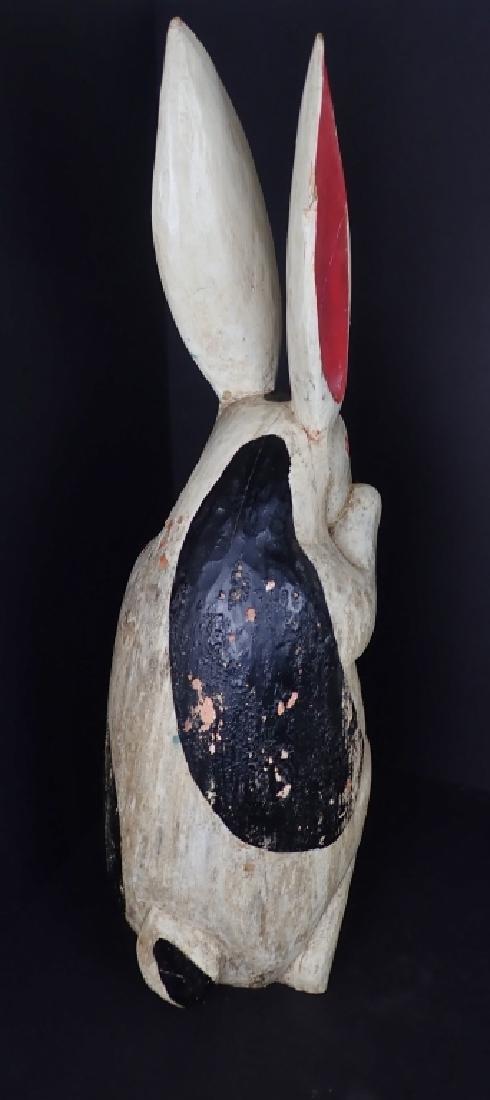 Antique Folk Art Painted & Carved Wood Rabbit - 7